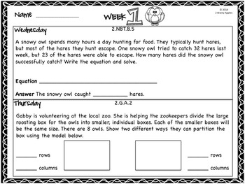 Word Problems 2nd Grade, October