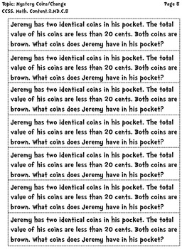2nd Grade Common Core Word Problems: Money