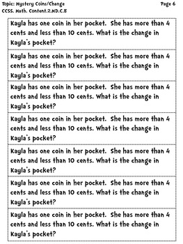2nd Grade Common Core Word Problems: Money by The Teacher Wears Prada