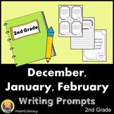 Writing Prompts 2nd Grade Common Core Bundle December, January, and February
