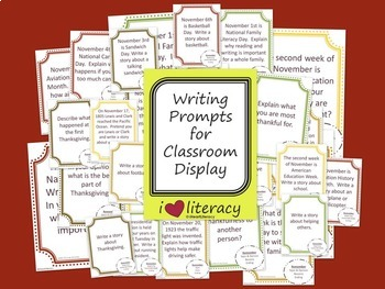 Writing Prompts 2nd Grade Common Core Bundle September, October, and November