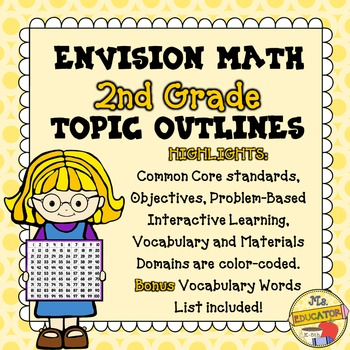 EnVision Math Common Core - 2nd Grade Topics 1-16 Outlines