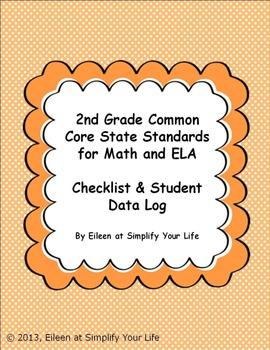 "2nd Grade Common Core for Math and ELA ""Checklist & Studen"