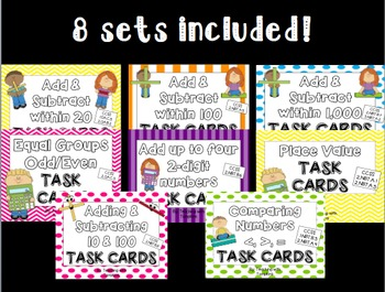 2nd Grade Complete Math Task Cards Bundle