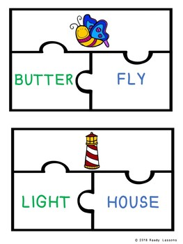 2nd Grade Compound Words Game Puzzles for Compound Words Center Activity L.2.4d