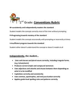 2nd Grade: Conventions Rubric: Common Core