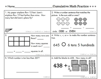 2nd Grade Cumulative Common Core Math Review by Second Story Window