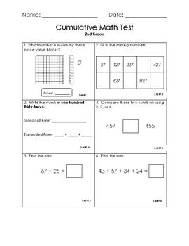 2nd Grade Cumulative Math Assessment