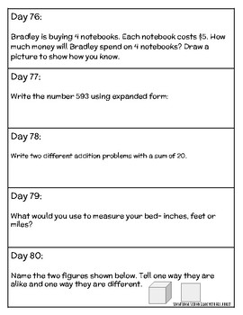 2nd Grade DAILY Math Prompts- 180 Days worth of questions! NO PREP