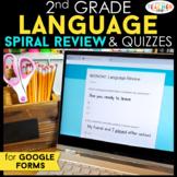 2nd Grade DIGITAL Language Spiral Review & Quizzes   Gramm