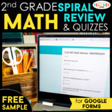 2nd Grade DIGITAL Math Spiral Review & Weekly Quizzes | Google Forms | FREE