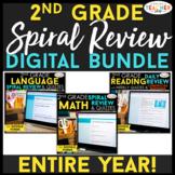2nd Grade DIGITAL Spiral Review & Quiz BUNDLE   Math, Read