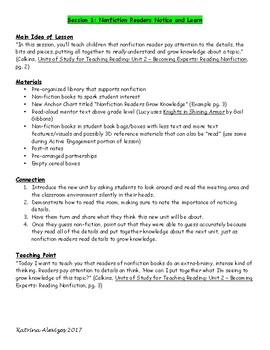 2nd Grade Daily Lesson Plans Aligned to Lucy Calkins Reading Workshop Unit 2