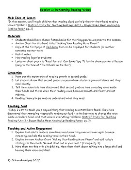 2nd Grade Daily Lesson Plans Aligned to Lucy Calkins Reading Workshop Unit 3