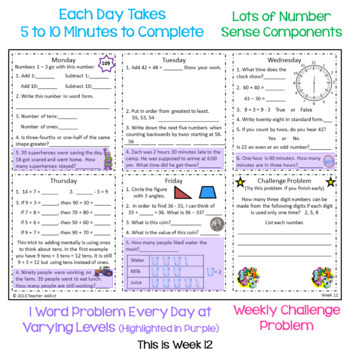 Math Morning Work for 2nd Grade - 1st and 2nd Quarter