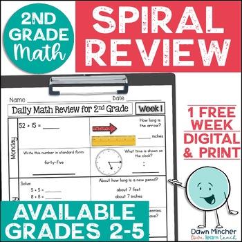 2nd Grade Morning Work | 2nd Grade Spiral Math Review | 1-week FREEBIE