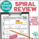 2nd Grade Math Review Morning Work Spiral Review ONE WEEK FREE