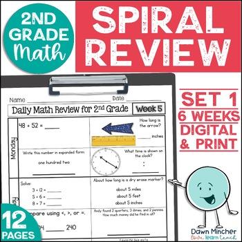 2nd Grade Morning Work | 2nd Grade Spiral Math Review | Set 1 (6 weeks)