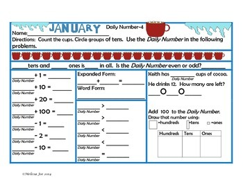 Daily Number-2nd Grade January --Common Core Aligned