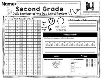 2nd Grade - Daily Number of the Day Spiral Review: 1st Nine Weeks