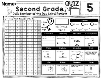 2nd Grade - Daily Number of the Day Spiral Review: One Week FREEBIE