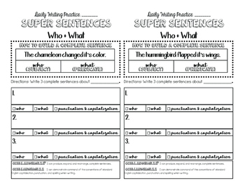 2nd Grade Daily Sentence Writing Booklet