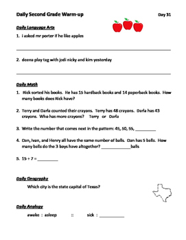 2nd Grade Daily Warm-up (Lang Arts, Math, Geography, Analogy) Days 31-45
