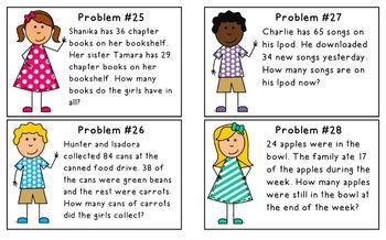 2nd Grade Daily Word Problem Book & Cards 2.OA.1, 2.NBT.5 {SET 2}