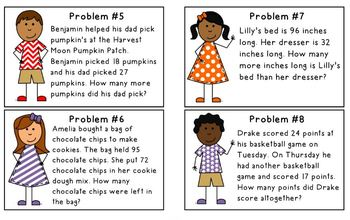 2nd Grade Daily Word Problem Book & Cards 2.OA.1, 2.NBT.5 {SET 2}