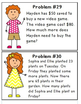 2nd Grade Daily Word Problem Book & Cards 2.OA.1 {SET 1} | TpT