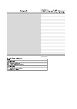 2nd Grade Data Sheet