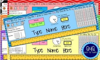 2nd Grade Desk Name Plates Aligned to Common Core: Editable in Chevron