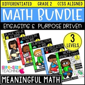 2nd grade differentiated math worksheets bundle by bite size teaching. Black Bedroom Furniture Sets. Home Design Ideas