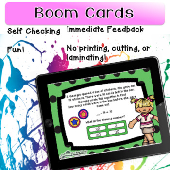 2nd Grade Digital Addition and Subtraction within 20 Word Problems Task Cards