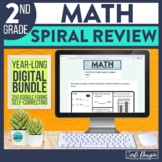 2nd Grade Digital Math Spiral Review Distance Learning Sel