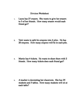 2nd Grade Division Worksheet
