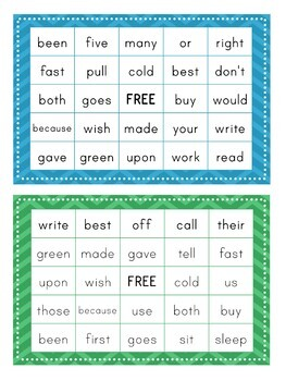 2nd Grade Dolch Sight Word BINGO Card Printable: Includes 30 cards!