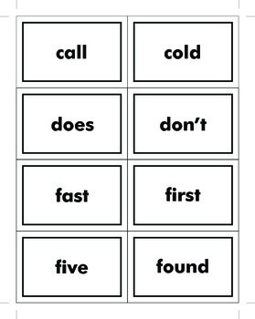 2nd Grade Dolch Sight Word Cards