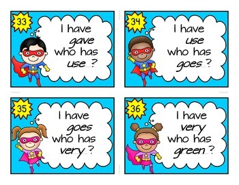 2nd Grade Dolch Sight Word Cards, Super Hero Theme, I Have Who Has Game