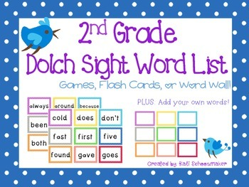 2nd Grade Dolch Sight Word Games and Flash Cards
