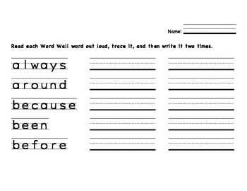 2nd Grade Dolch Sight Word Practice--FREE!