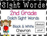 2nd Grade Dolch Sight Words ~ Black and White Chevron ~ Word Wall Cards