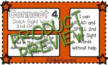 2nd Grade Dolch Sight Words - Connect 4