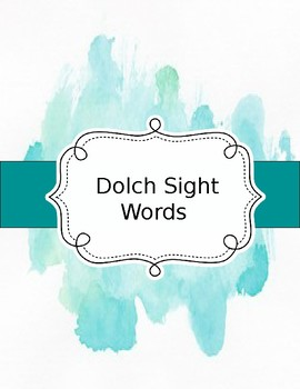 2nd Grade Dolch Sight Words Watercolor
