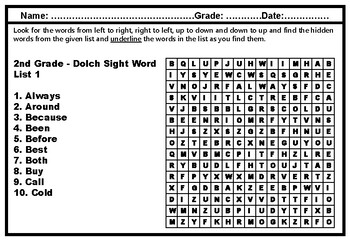 2nd Grade Dolch Sight Words, Word Search Puzzle Worksheets, No Prep Sub Plan