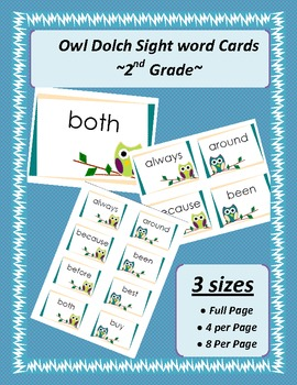 2nd Grade Dolch Word Cards -Owls Teal & Green