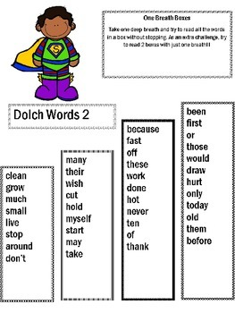 2nd Grade Dolch Words - One Breath Boxes