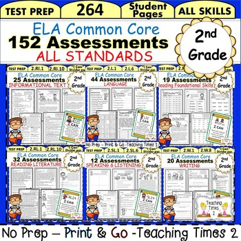 2nd Grade Ela Common Core All Standards Assessment Pack 240 Pages