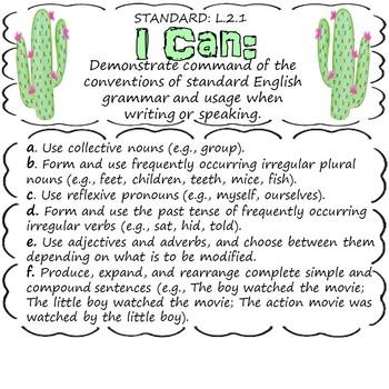 "2nd Grade ELA ""I Can"" Statements (Cactus Theme)"