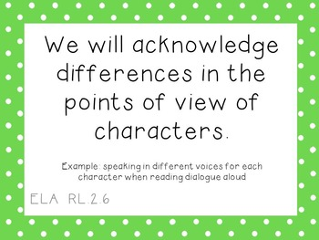 """2nd Grade ELA CCSS Learning Goal Cards WITH """"I can..."""" Statements"""